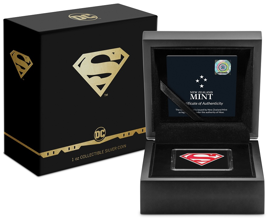 (W160.2.D.2021.30-01067) 2 Dollars Niue 2021 1 ounce Proof Ag - Superman Shield (box and case) (zoom)