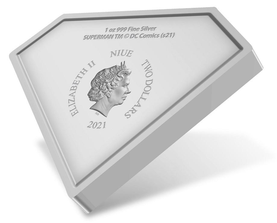 (W160.2.D.2021.30-01067) 2 Dollars Niue 2021 1 oz Proof silver - Superman Shield Obverse (zoom)