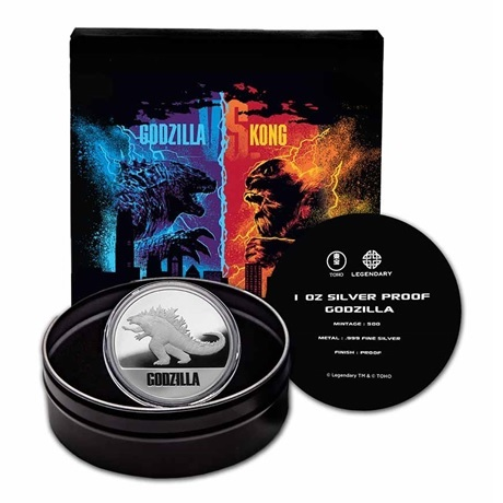 (W160.200.2021.1.oz.Ag.6) 2 Dollars Niue 2021 1 once Ag BE - Godzilla (packaging complet)