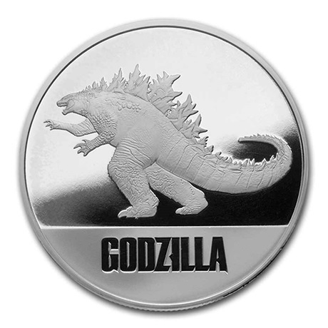 (W160.200.2021.1.oz.Ag.6) 2 Dollars Niue 2021 1 once argent BE - Godzilla Revers