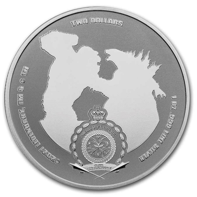 (W160.200.2021.1.oz.Ag.6) 2 Dollars Niue 2021 1 oz Proof silver - Godzilla Obverse (zoom)