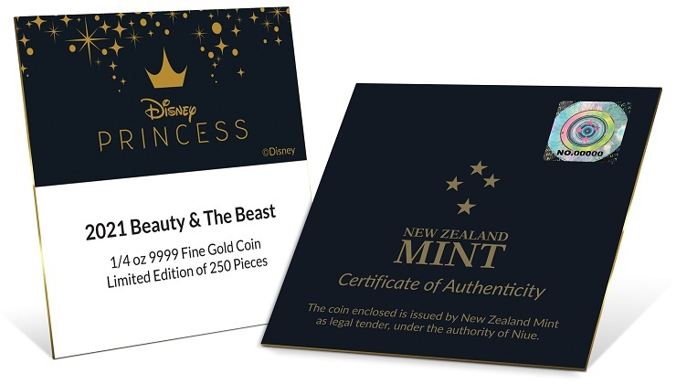 (W160.25.D.2021.30-01030) 25 Dollars Niue 2021 0.25 ounce Proof Au - Beauty and the Beast (certificate) (zoom)