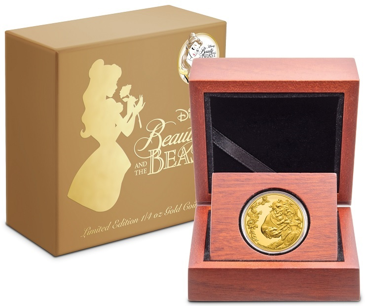 (W160.25.D.2021.30-01030) 25 Dollars Niue 2021 0.25 oz Proof Au - Beauty and the Beast (box and case) (zoom)