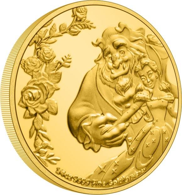 (W160.25.D.2021.30-01030) 25 Dollars Niue 2021 0.25 oz Proof Au - Beauty and the Beast (edge) (zoom)