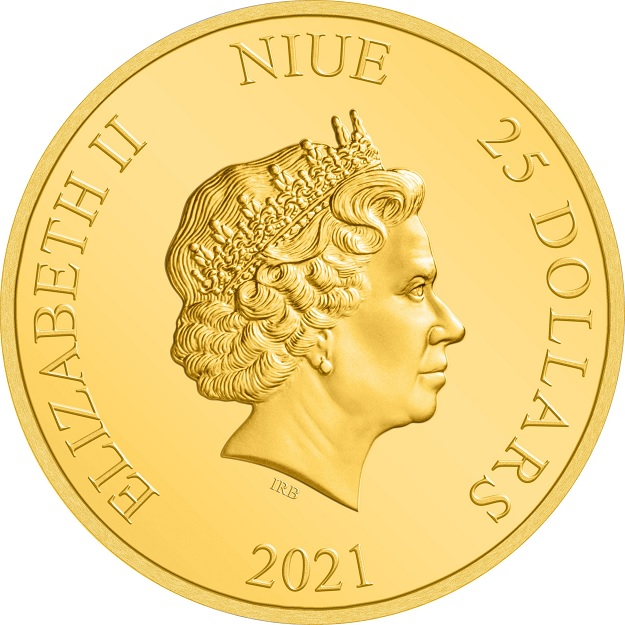 (W160.25.D.2021.30-01030) 25 Dollars Niue 2021 0.25 oz Proof gold - Beauty and the Beast Obverse (zoom)