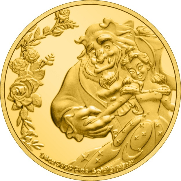 (W160.25.D.2021.30-01030) 25 Dollars Niue 2021 0.25 oz Proof gold - Beauty and the Beast Reverse (zoom)