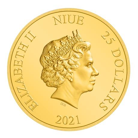 (W160.25.D.2021.30-01030) 25 Dollars Niue 2021 0,25 once or BE - La Belle et la Bête Avers