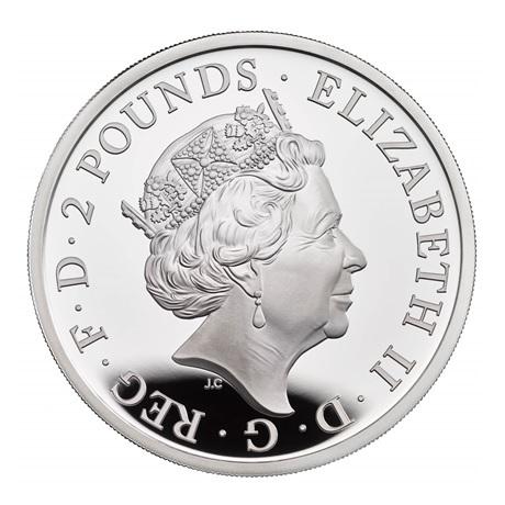 (W185.2.P.2021.BR21SO) 2 Pounds Royaume-Uni 2021 1 once argent BE - Britannia Avers