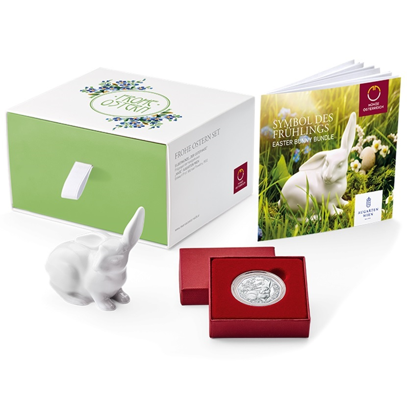 (EUR01.ComBU&BE.2018.23372) 5 euro Austria 2018 BU silver - Easter bunny (collector set) (zoom)