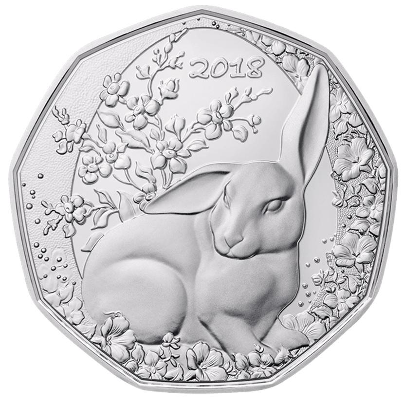 (EUR01.ComBU&BE.2018.23372) 5 euro Austria 2018 BU silver - Easter bunny (in collector set) Reverse (zoom)
