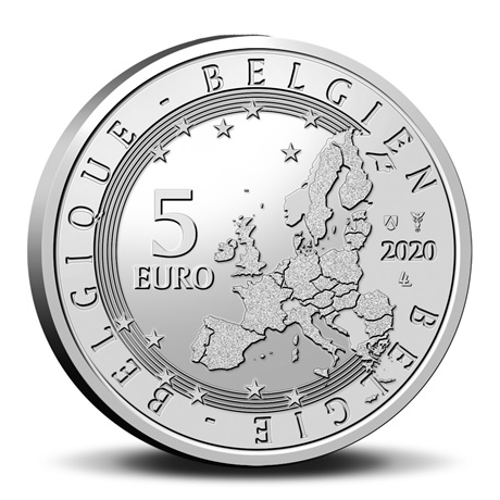 (EUR02.ComBU&BE.2020.500.BU.COM2.1) 5 euro Belgique 2020 BU - Equipe belge (colorisée) Avers