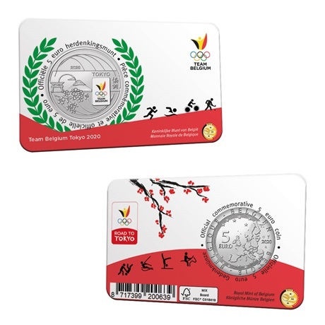 (EUR02.ComBU&BE.2020.500.BU.COM2.1) 5 euro Belgique 2020 BU - Equipe de Belgique (carte)