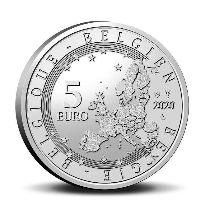 (EUR02.ComBU&BE.2020.500.BU.COM2.1) 5 euro Belgium 2020 BU - Team Belgium Obverse (zoom)