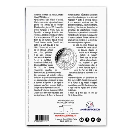(EUR07.10.E.2021.10041355310005) 10 euro France 2021 Ag - Napoléon Ier Verso