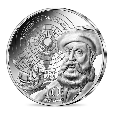(EUR07.Proof.2021.10041355470000) 10 euro France 2021 argent BE - Couvent du Christ & Magellan Avers