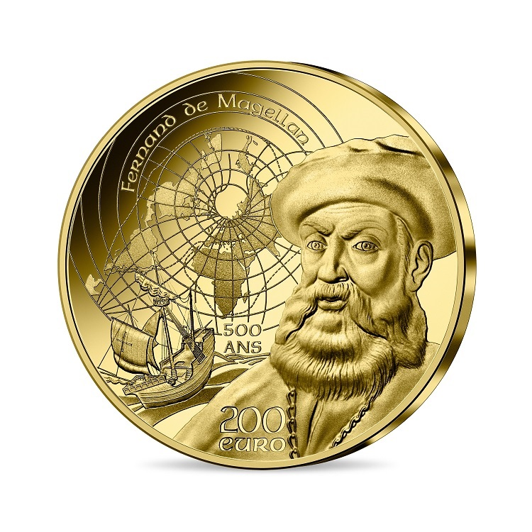 (EUR07.Proof.2021.10041355810001) 200 euro France 2021 Proof gold - Magellan Obverse (zoom)