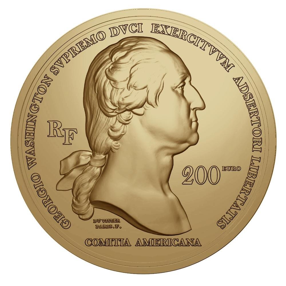 (EUR07.Proof.2021.10041356460000) 200 euro France 2021 Antique gold - Washington Obverse (zoom)