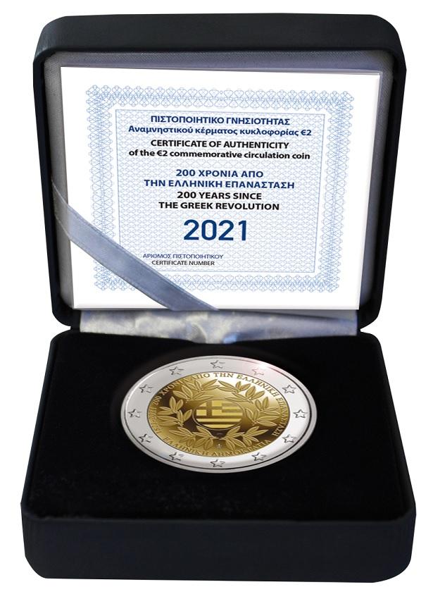 (EUR08.ComBU&BE.2021.200.BE.COM1) 2 euro Greece 2021 Proof - Greek revolution (case) (zoom)