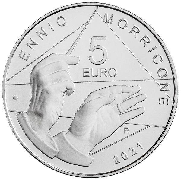 (EUR10.BU.2021.48-2MS10-21F013) 5 euro Italy 2021 BU silver - Ennio Morricone Reverse (zoom)