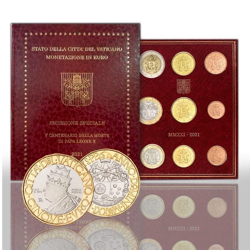 (EUR19.BU.set.2021.CN1569) BU coin set Vatican 2021 - Pope Leo X (zoom)