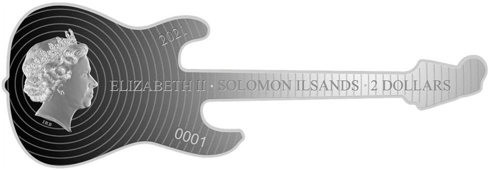 (W106.2.D.2021.1.oz.Ag.1) 2 $ Iles Salomon 2021 1 oz Proof silver - Fender Stratocaster Obverse (zoom)