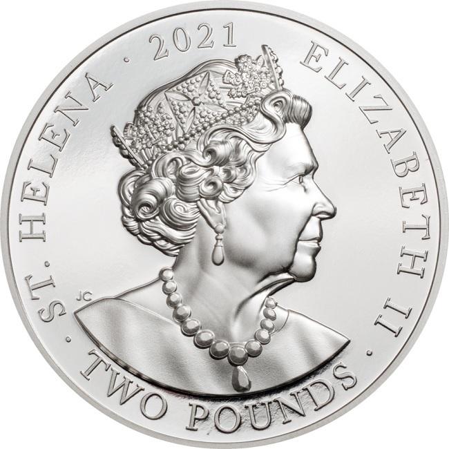 (W191.2.P.2021.29563) 2 Pounds Napoleon Bonaparte 2021 - Proof silver Obverse (zoom)