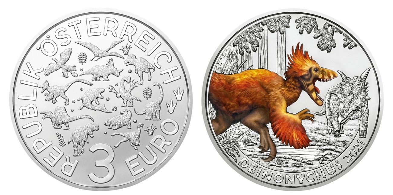 (EUR01.ComBU&BE.2021.25146) 3 euro Austria 2021 - Deinonychus Antirrhopus (zoom)