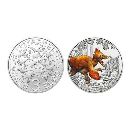 (EUR01.ComBU&BE.2021.25146) 3 euro Autriche 2021 - Deinonychus