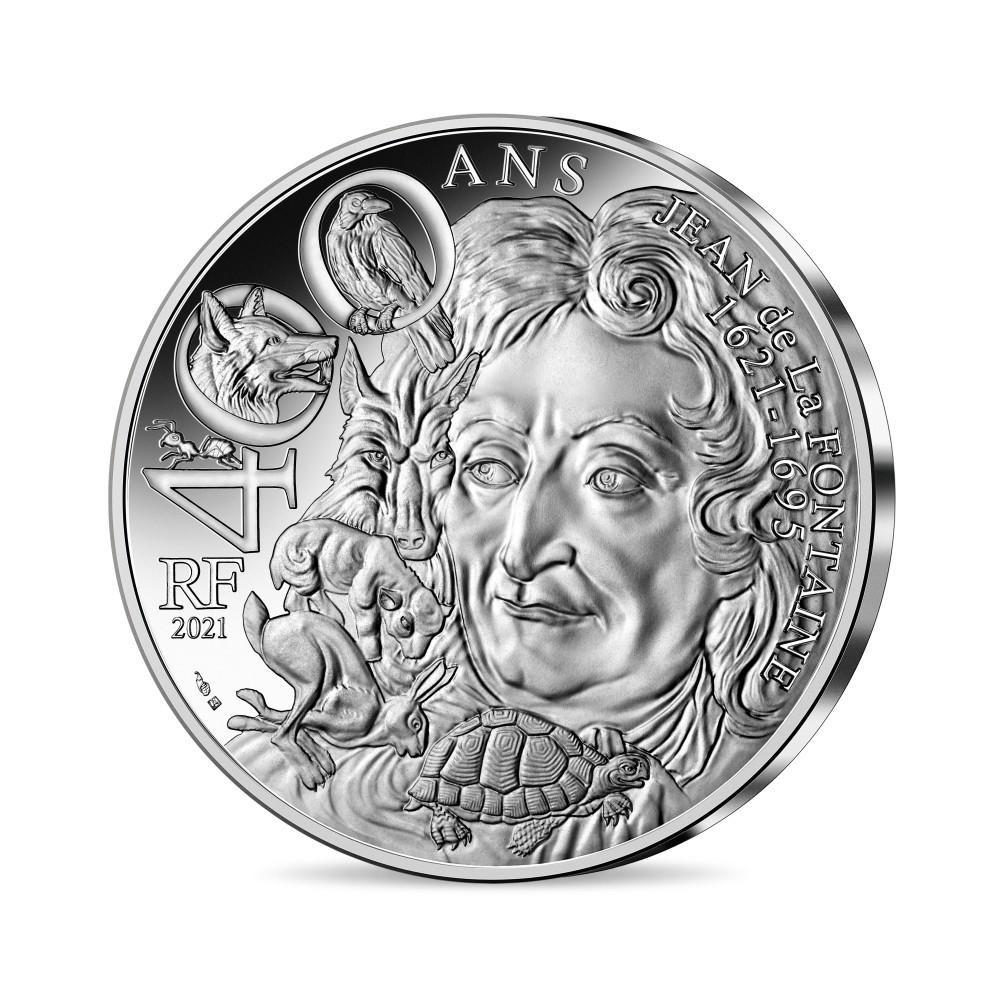 (EUR07.100.E.2021.10041355190000) 100 € France 2021 silver - Jean de La Fontaine Obverse (zoom)