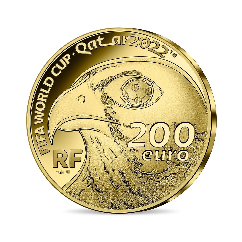 (EUR07.Proof.2021.10041355810001) 200 euro France 2021 Proof gold - FIFA World Cup Qatar Obverse (zoom)