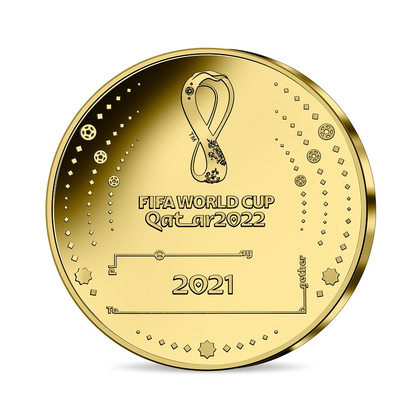 (EUR07.Proof.2021.10041355810001) 200 euro France 2021 Proof gold - FIFA World Cup Qatar Reverse (zoom)
