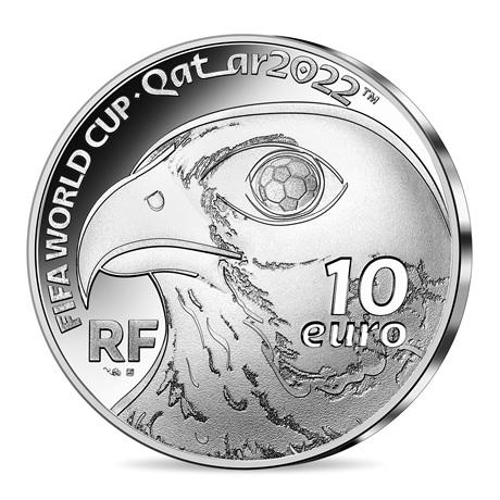 (EUR07.Proof.2021.10041355830000) 10 euro France 2021 argent BE - Coupe du monde football Qatar Avers