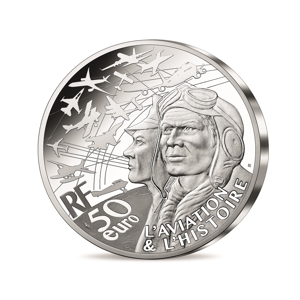 (EUR07.Proof.2021.10041355880000) 50 euro France 2021 Proof silver - P-51 Mustang Obverse (zoom)