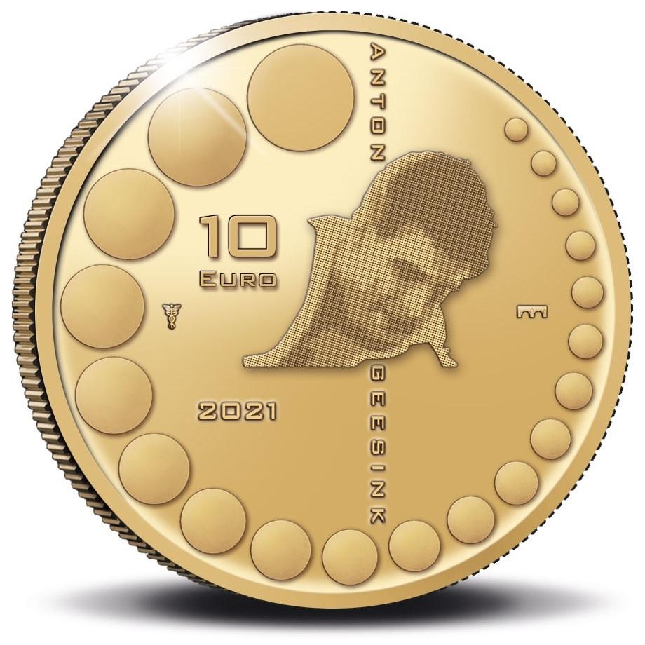 (EUR14.Proof.2021.0110995) 10 euro Netherlands 2021 Proof gold - Anton Geesink Reverse (zoom)