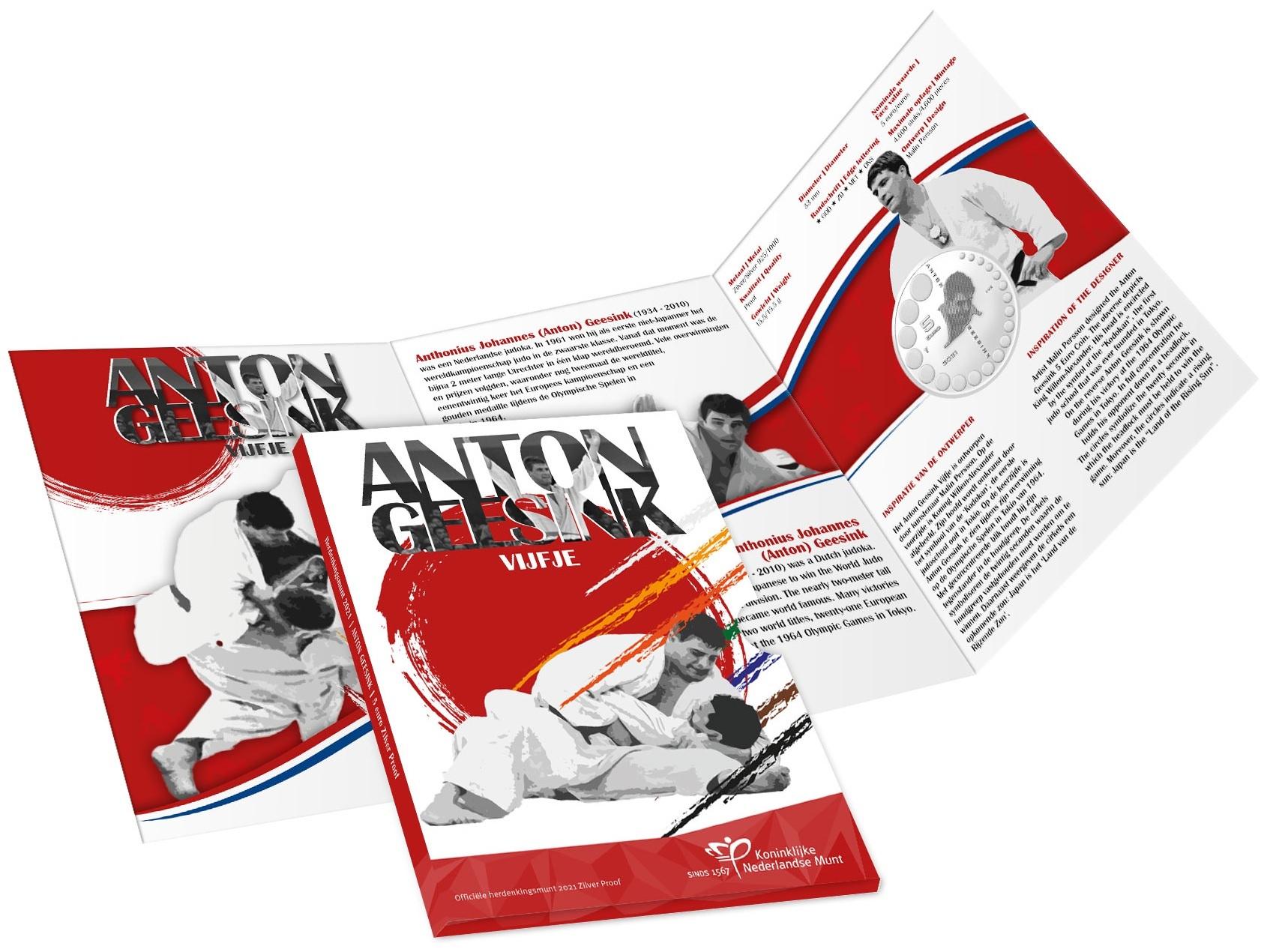 (EUR14.Proof.2021.0111000) 5 euro Netherlands 2021 Proof silver - Anton Geesink (packaging) (zoom)