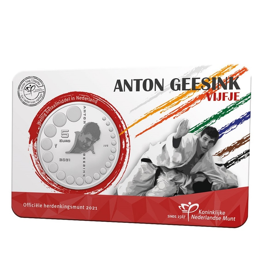 (EUR14.Unc.2021.0111004) 5 € Netherlands 2021 UNC - Anton Geesink (First Day Issue) Front (zoom)