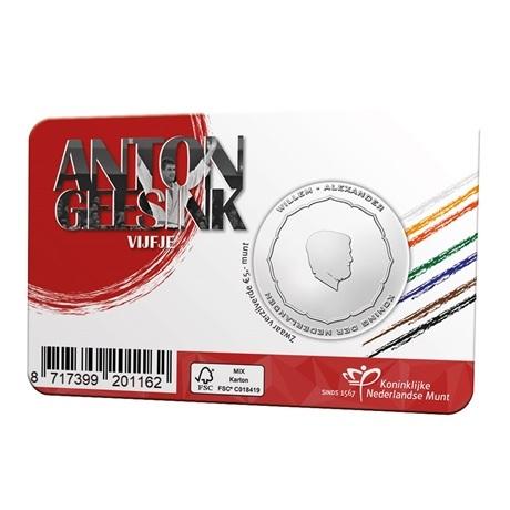(EUR14.Unc.2021.0111004) 5 € Pays-Bas 2021 UNC - Anton Geesink (pochette Premier Jour) Verso