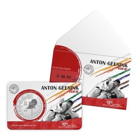 (EUR14.Unc.2021.0111004) 5 euro Pays-Bas 2021 UNC - Anton Geesink (pochette Premier Jour)