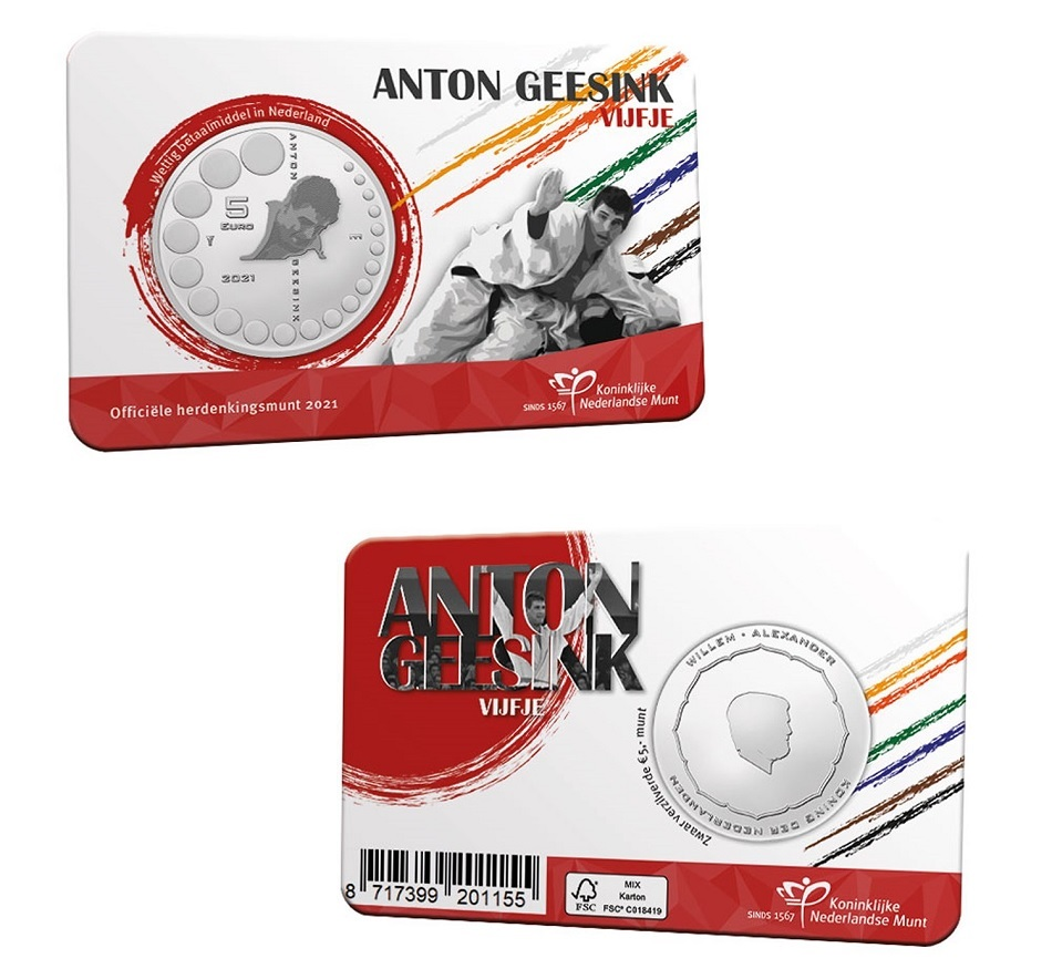 (EUR14.Unc.2021.0111005) 5 euro Netherlands 2021 UNC - Anton Geesink (coincard) (zoom)