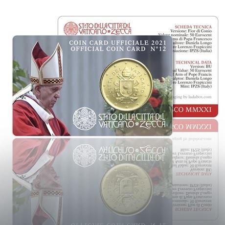 (EUR19.Card.2021.CN1573) Coin card 50 cent Vatican 2021 BU