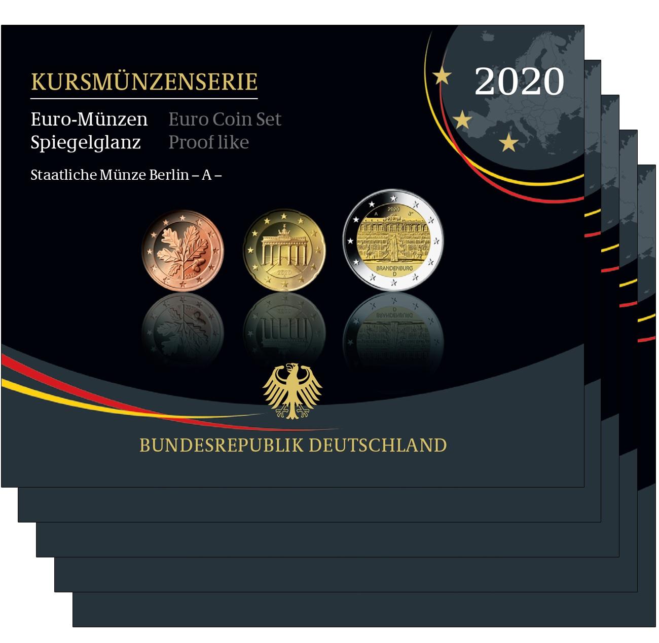 (LOT.EUR03.Proof.sets.2020.A.to.J.90um20s) Proof coin sets Germany 2020 (all 5 Mints A, D, F, G & J) (zoom)