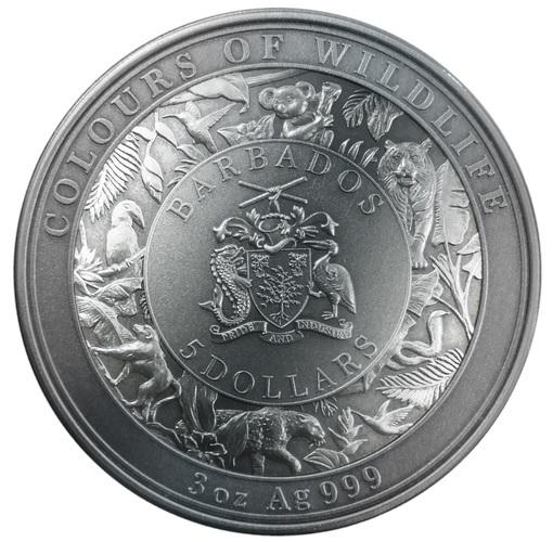 (W022.5.D.2021.3.oz.Ag.3) 5 $ Barbados 2021 3 oz Antique silver - Tiger Obverse (zoom)