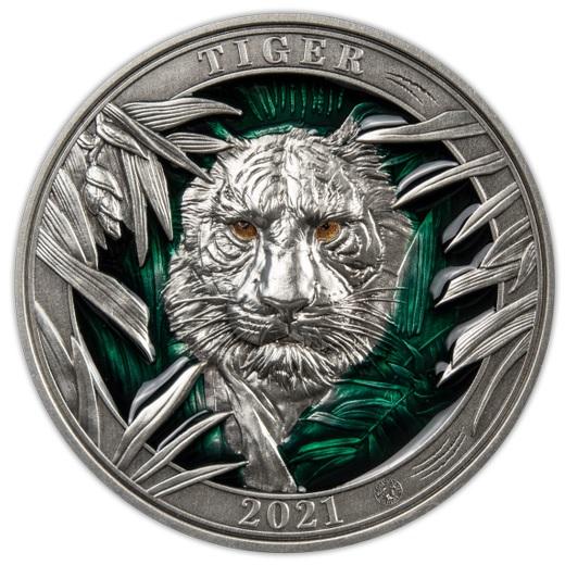 (W022.5.D.2021.3.oz.Ag.3) 5 $ Barbados 2021 3 oz Antique silver - Tiger Reverse (zoom)