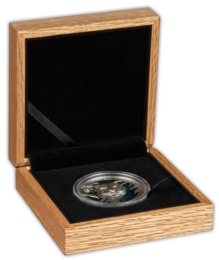 (W022.5.D.2021.3.oz.Ag.3) 5 $ Barbados 2021 3 oz Antique silver - Tiger (open case) (zoom)