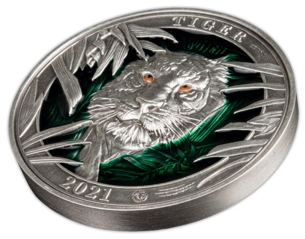 (W022.5.D.2021.3.oz.Ag.3) 5 $ Barbados 2021 3 oz Antique silver - Tiger (view on reverse) (zoom)