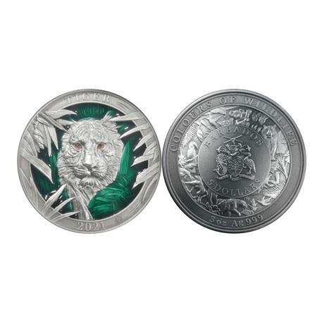 (W022.5.D.2021.3.oz.Ag.3) 5 Dollars Barbade 2021 3 onces argent Antique - Tigre