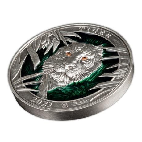 (W022.5.D.2021.3.oz.Ag.3) 5 Dollars Barbade 2021 3 oz Ag Antique - Tigre (vue sur revers)