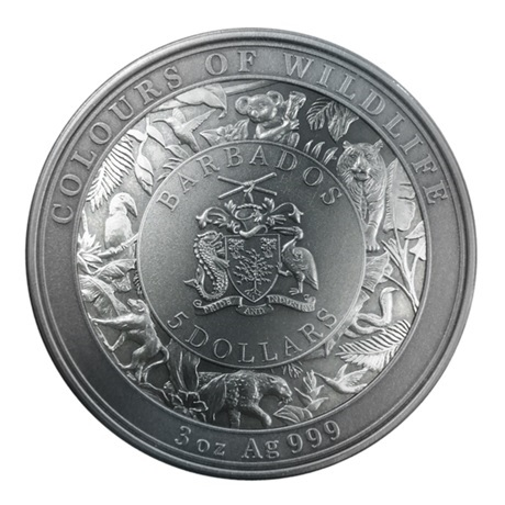 (W022.5.D.2021.3.oz.Ag.3) 5 Dollars Barbade 2021 3 oz argent Antique - Tigre Avers