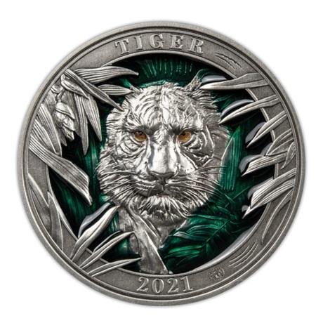 (W022.5.D.2021.3.oz.Ag.3) 5 Dollars Barbade 2021 3 oz argent Antique - Tigre Revers