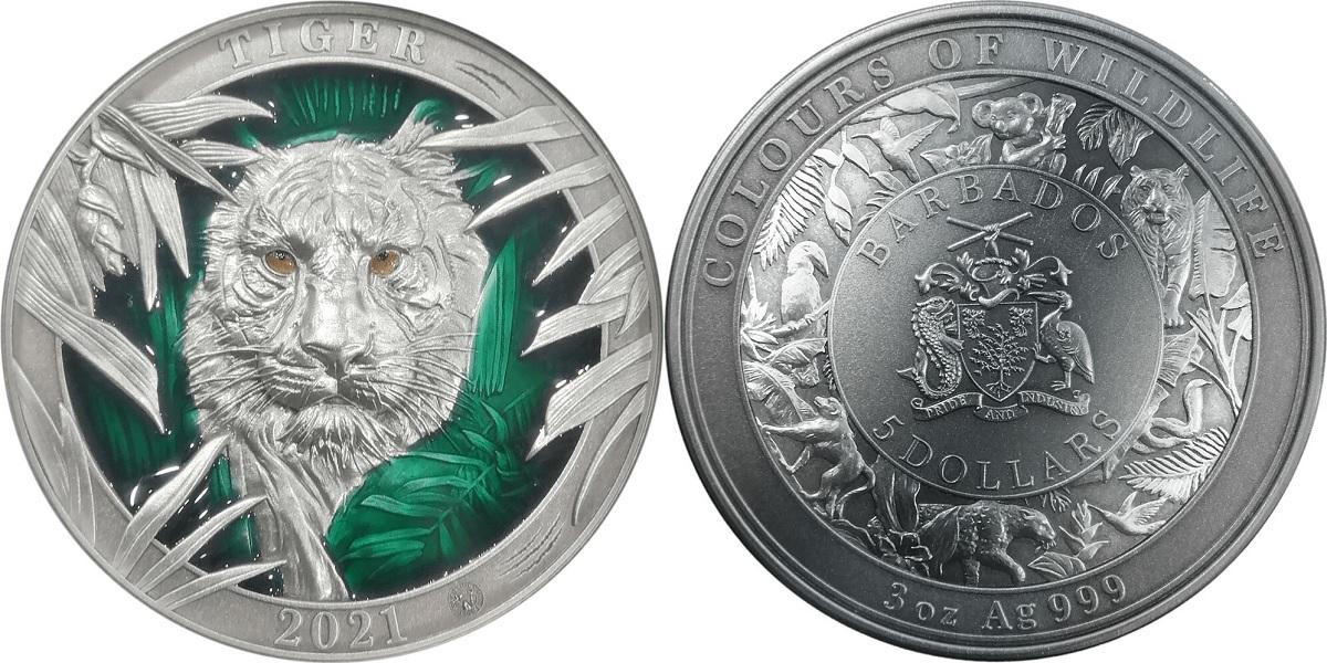 (W022.5.D.2021.3.oz.Ag.3) 5 Dollars Barbados 2021 3 oz Antique silver - Tiger (zoom)
